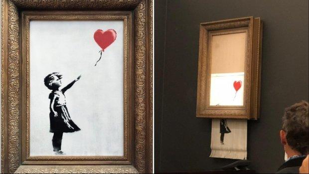 Schilderij Banksy vernietigt zichzelf na bod van miljoen euro