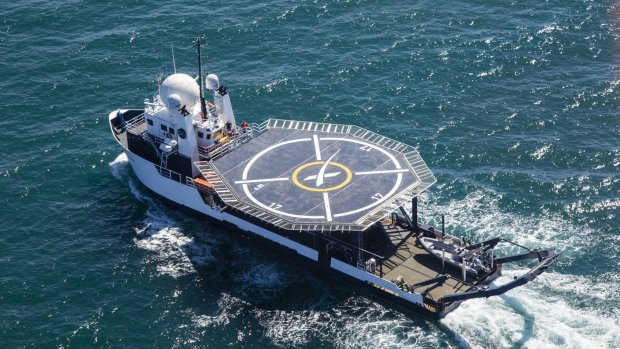 SpaceX-schip met helikopterdek moet astronauten redden