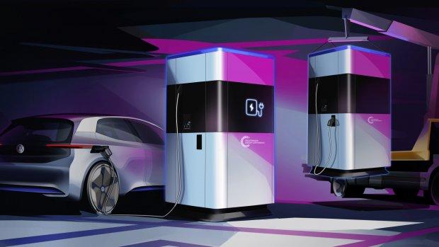 Volkswagen komt met mobiele laadpalen voor elektrische auto's