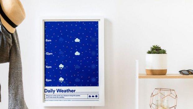 Deze 'slimme' poster toont altijd het actuele weerbericht