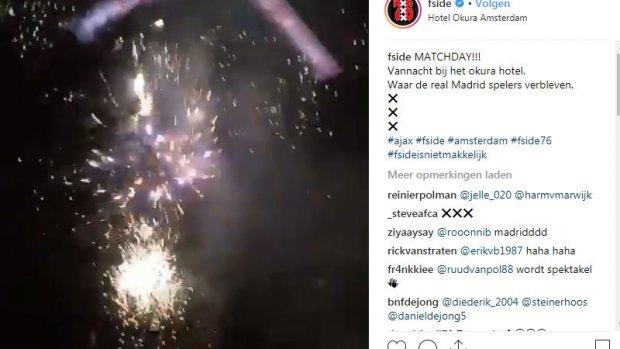 Ajaxfans houden vuurwerkshow bij hotel Real Madrid
