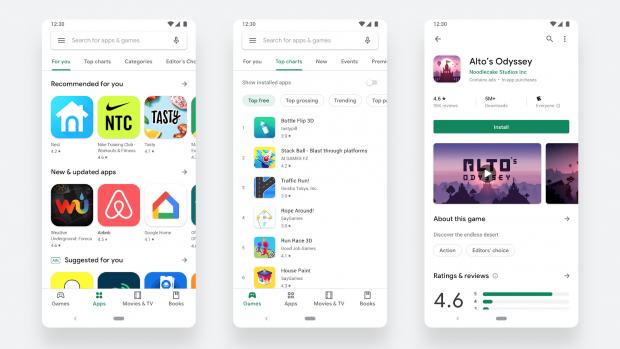 Nieuw Play Store-design voegt navigatiebalk toe