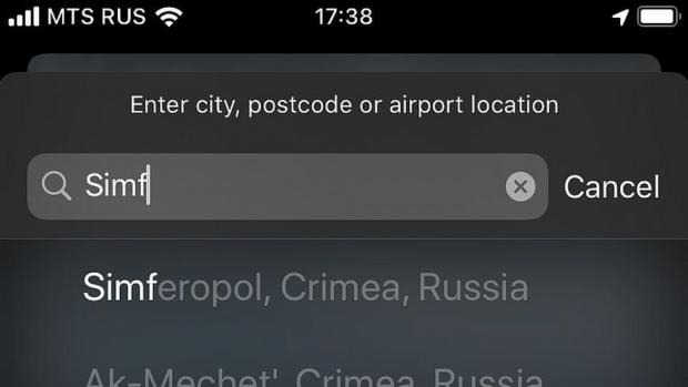 Krim deel van Rusland op kaarten Russische Apple Maps