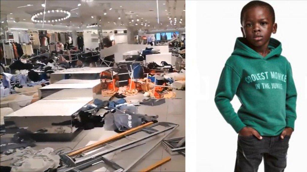 Links een vernield H&M-interieur, rechts de omstreden foto.