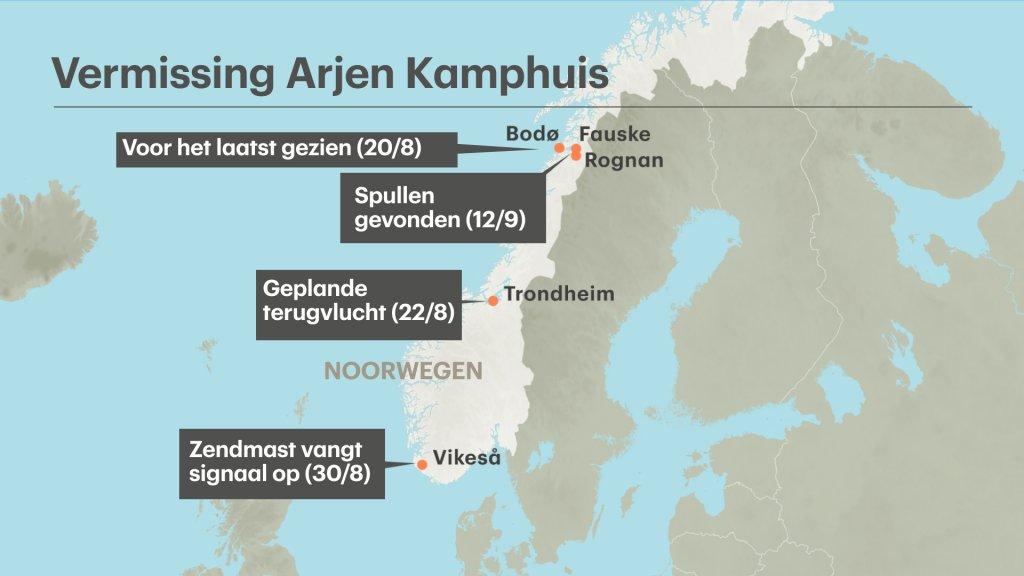 Arjen is voor het laatst gezien in het noorden van Noorwegen, op 20 augustus bij Bodø. Zo'n 50 kilometer verderop zijn op 12 september spullen van hem gevonden. Zijn telefoon maakte op 30 augustus contact met een zendmast in het zuiden.