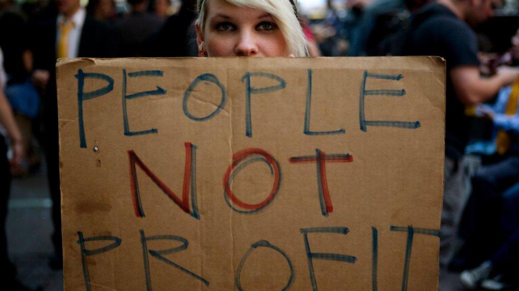 Protest in New York tegen graaiende bankiers.