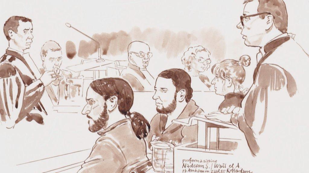 Rechtbanktekening van Nadeem S. en Waïl el A. in 2015.