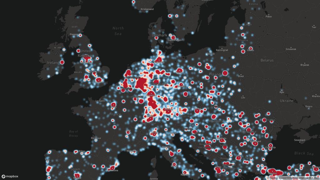 Alle GandCrab-infecties zijn live op een kaart te zien.