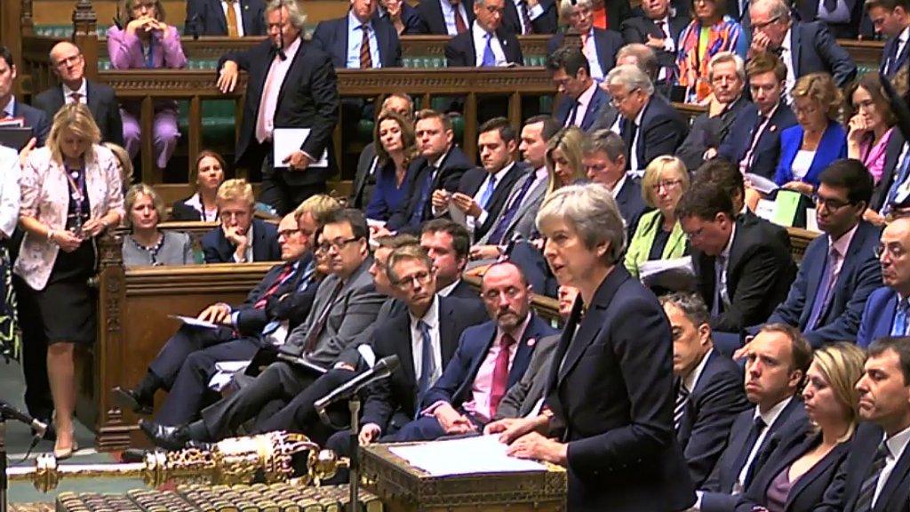 May aan het woord in het Britse Lagerhuis.