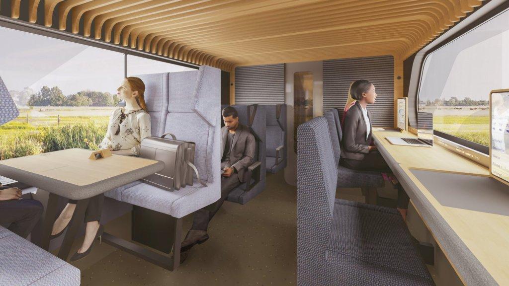 De kantoortafels in het ontwerp van de trein van de toekomst.