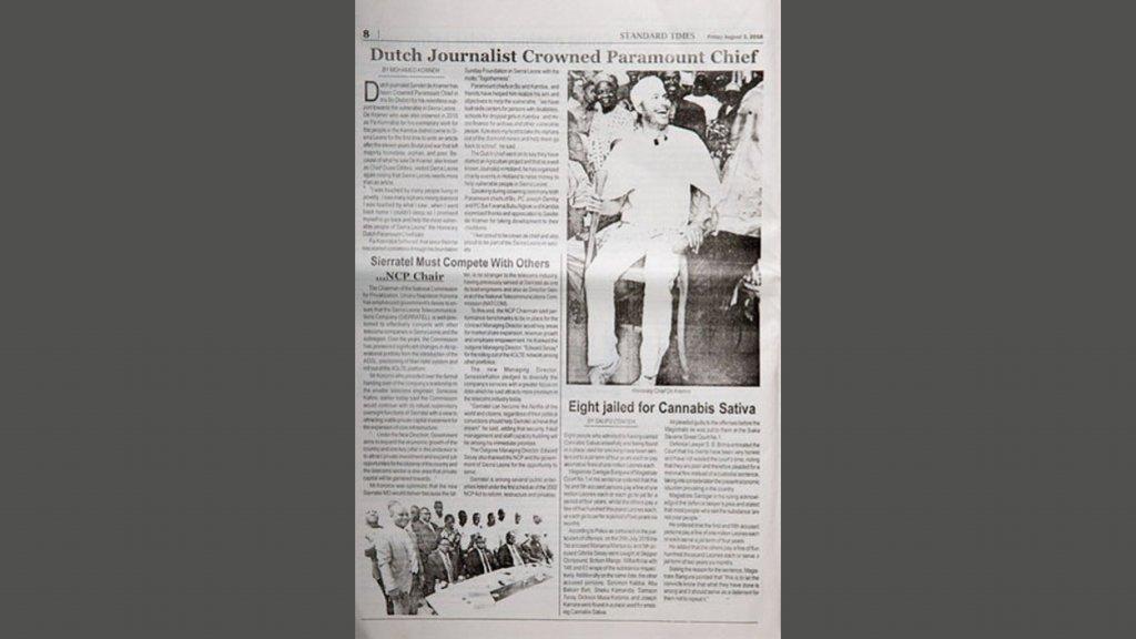 Dat Sander Paramount chief werd, was voorpaginanieuws in de landelijke krant.