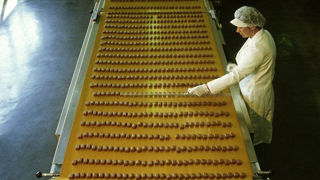 Productie van chocoladerepen in Duitsland