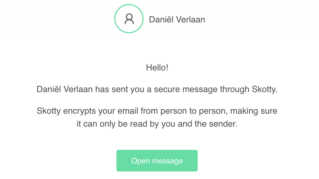 De e-mail die je ontvangt zodra je een Skotty-bericht krijgt.