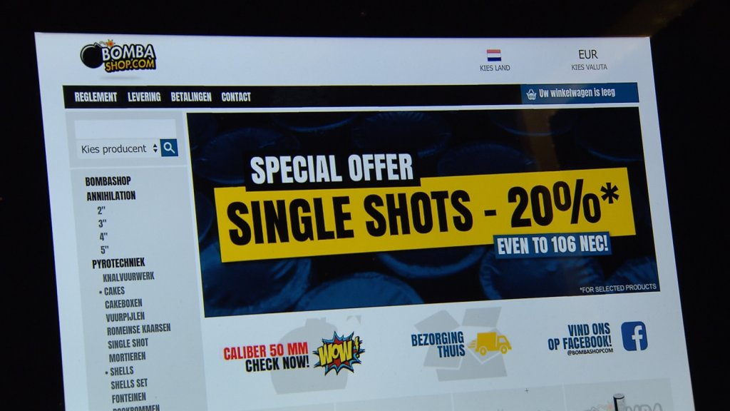 Bombashop, een bekend verkooppunt van illegaal vuurwerk.