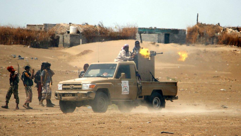 Regeringstroepen vlakbij de havenstad Hodeidah