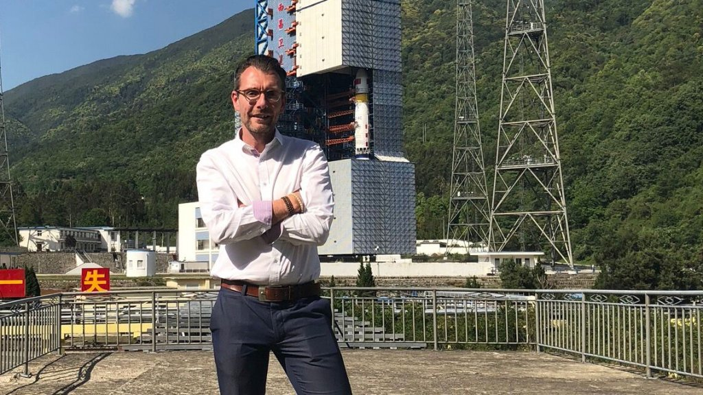 Marc voor de raket die in mei is gelanceerd.