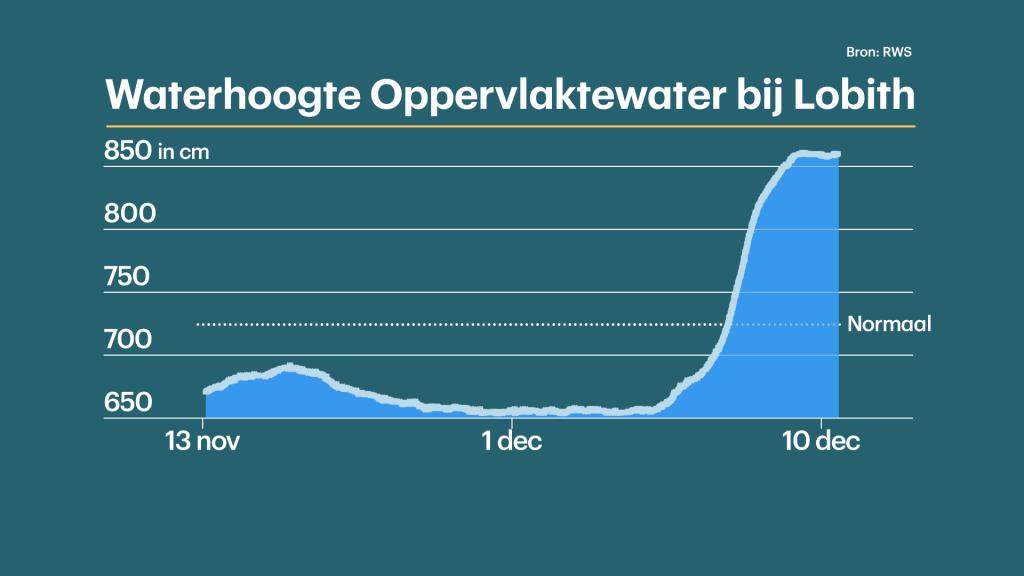 De waterhoogte van de Rijn bij meetpunt Lobith, in meters boven NAP.