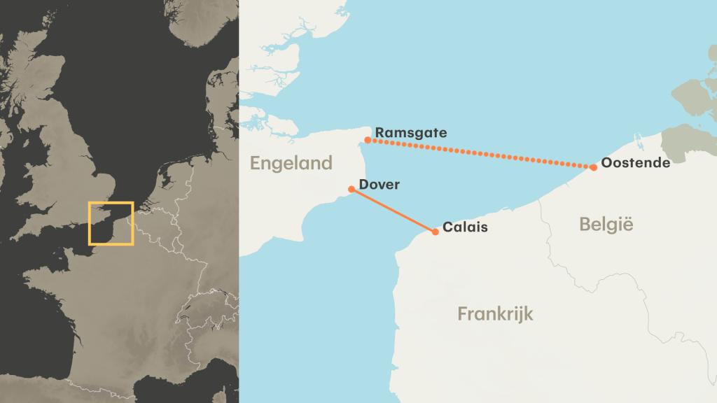 De extra route loopt van Ramsgate naar Oostende.