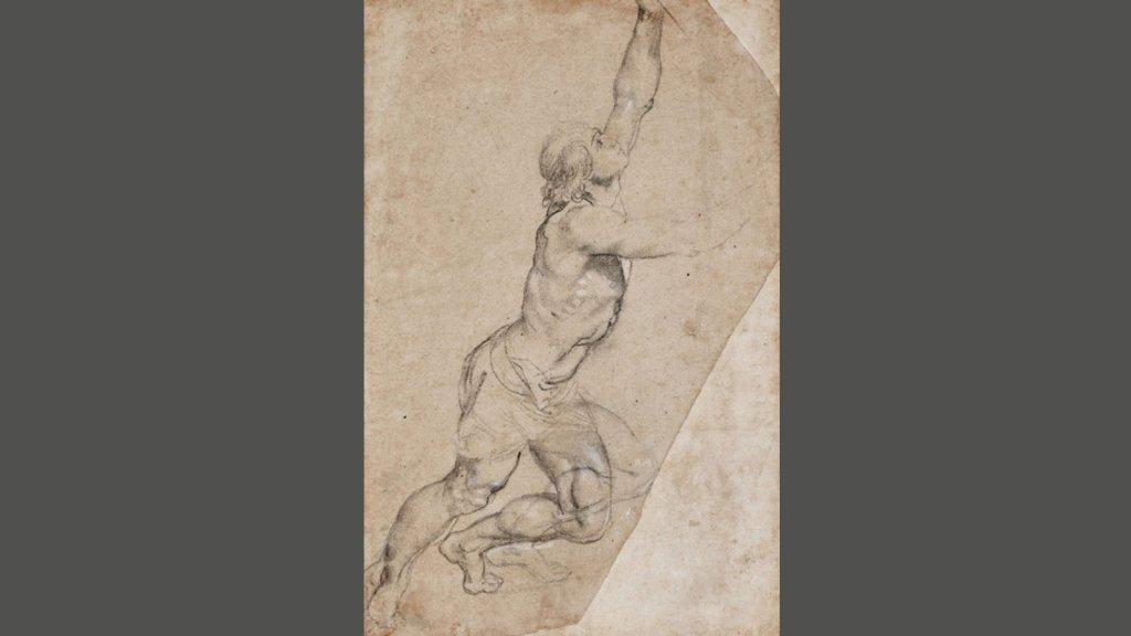 Werk van Peter Paul Rubens: 'Naaktstudie van een jongeman met opgeheven armen'