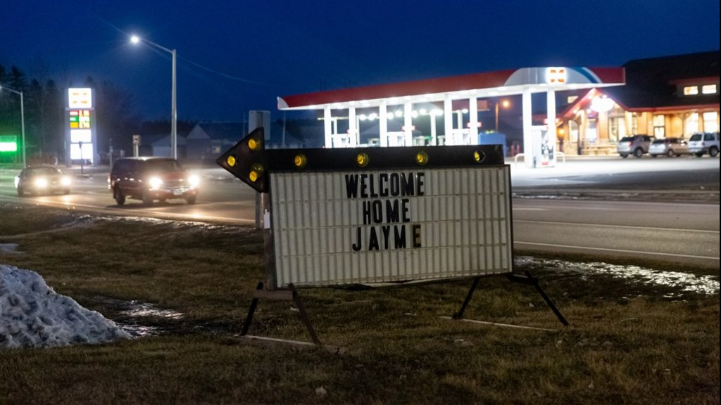 Welkomstbord voor Jayme.
