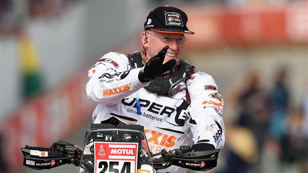 Kees Koolen als rijder tijdens een eerdere versies van de Dakar Rally. Dit jaar is hij er niet bij.