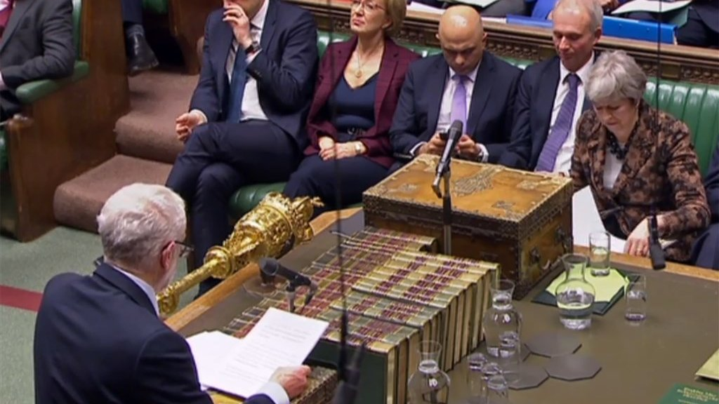 Corbyn spreekt May toe in het Lagerhuis