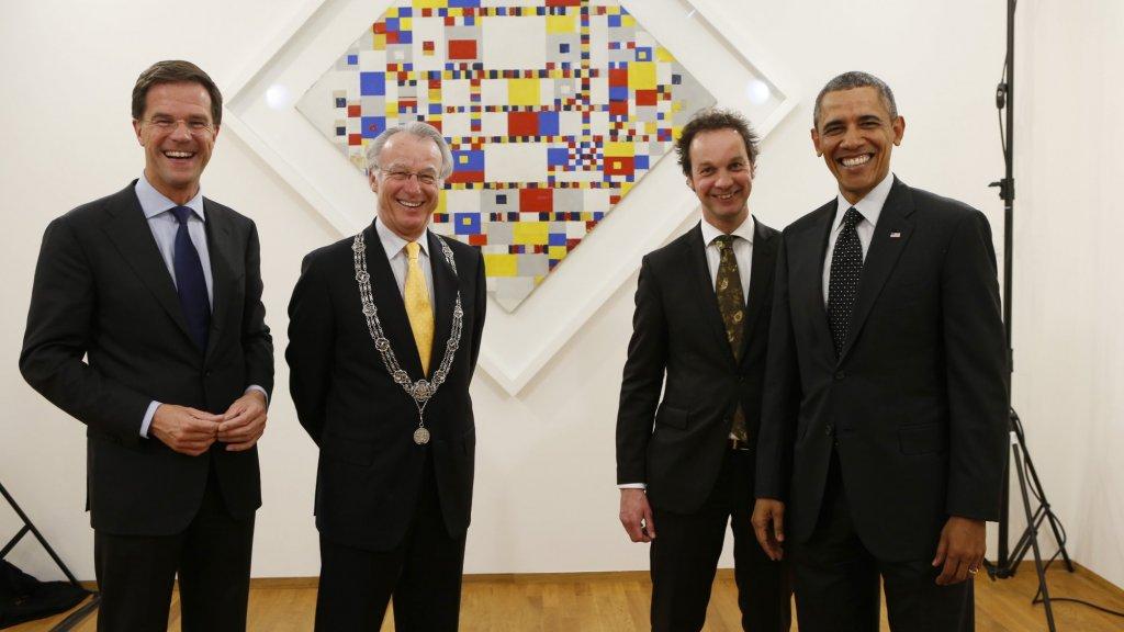 Obama bij de Victory Boogie Woogie in het Gemeentemuseum  Den Haag.