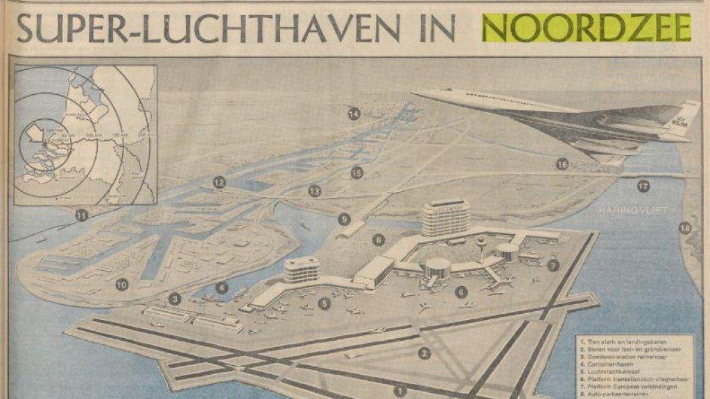 De super-luchthaven zou voor de Zuid-Hollandse kust moeten komen.