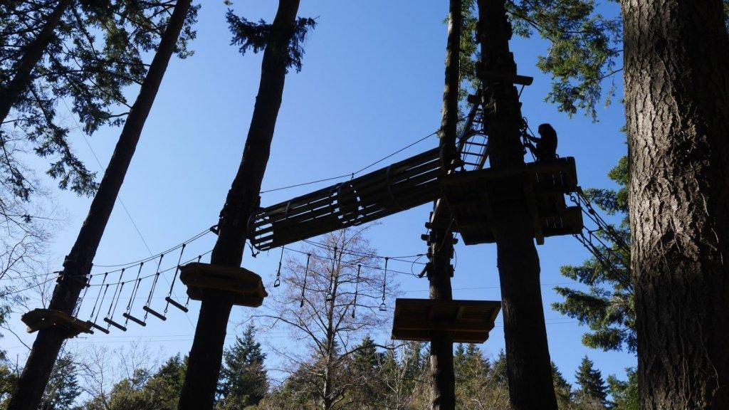 La Selva de l'Aventura, het avonturenbos, op anderhalf rijden van Barcelona.