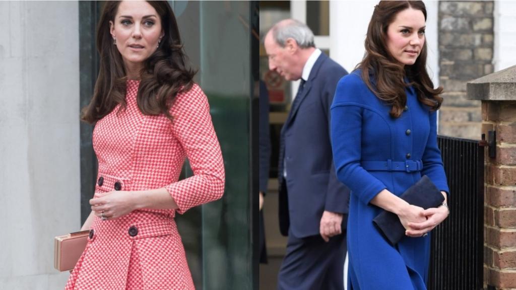 Kate Middleton in een ontwerp van Eponine in 2016 (links) en 2017 (rechts).