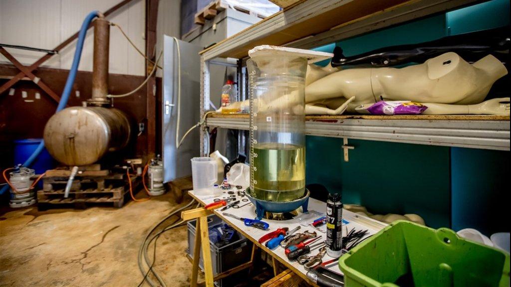 Drugslab in een schuur.