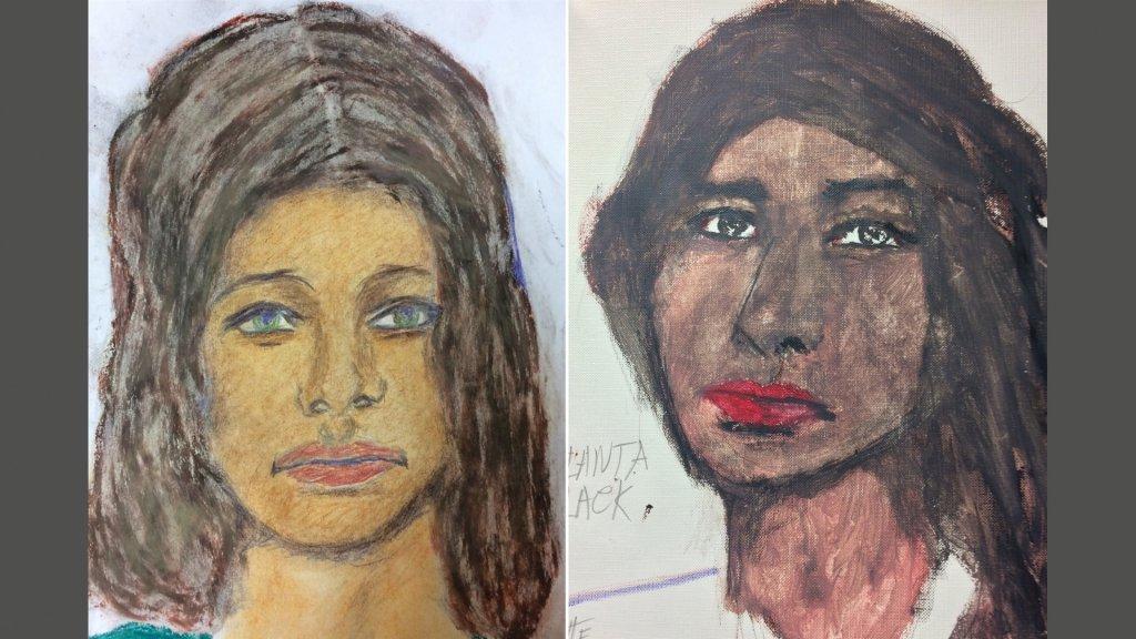 Twee gedetailleerde tekeningen van de vrouwen die Little zou hebben vermoord
