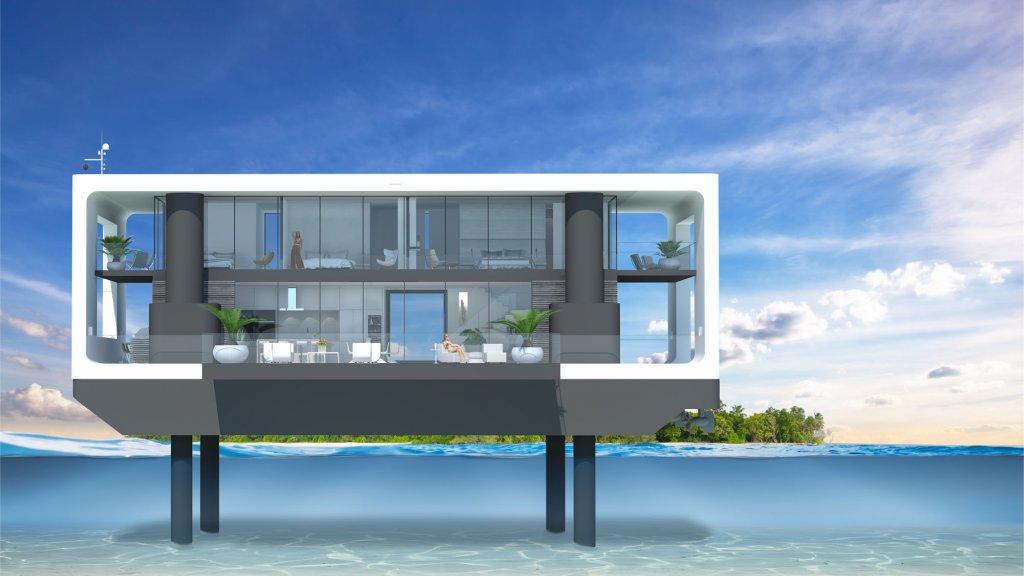 Deze villa kan zichzelf uit het water duwen.