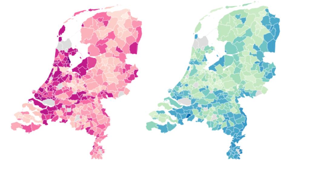 Stemmers op respectievelijk Fvd en de PVV. Hoe donkerder, hoe meer stemmers (0, 5, 15 en 25 procent). De FvD-kiezer vind je vooral in het westen van het land, de PVV-kiezer meer in het zuiden en oosten.