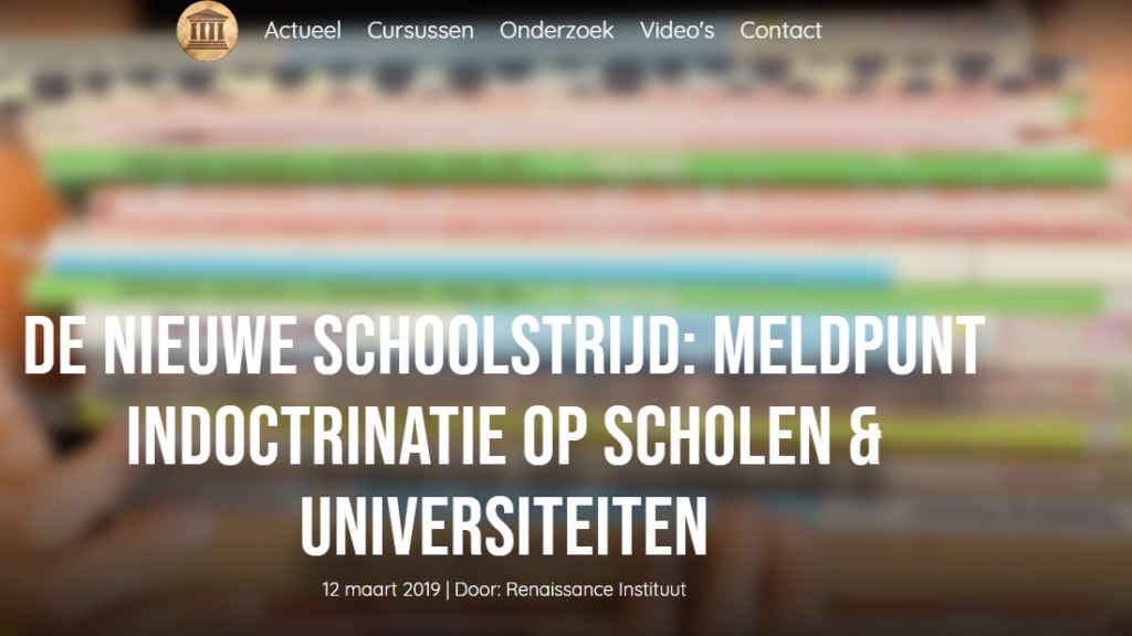 Screenshot website Renaissance Instituut.