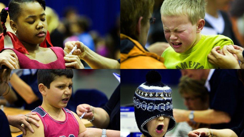 Kinderen tijdens het inenten