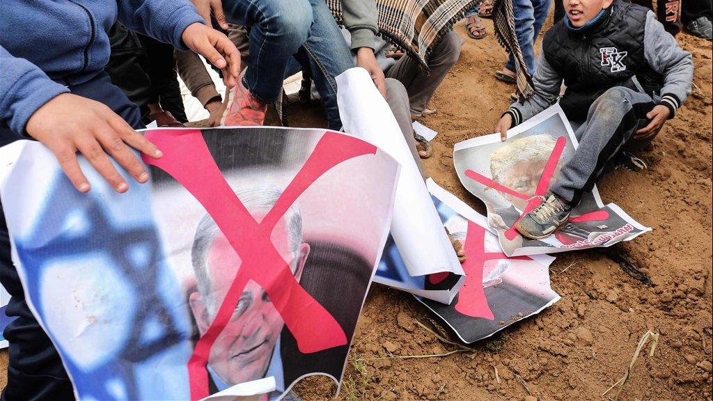 Protest tegen Netanyahu in Gaza.