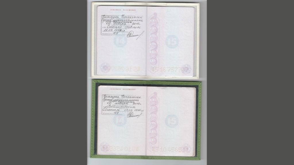 De paspoorten waardoor hun huwelijk officieel werd erkend in Rusland.