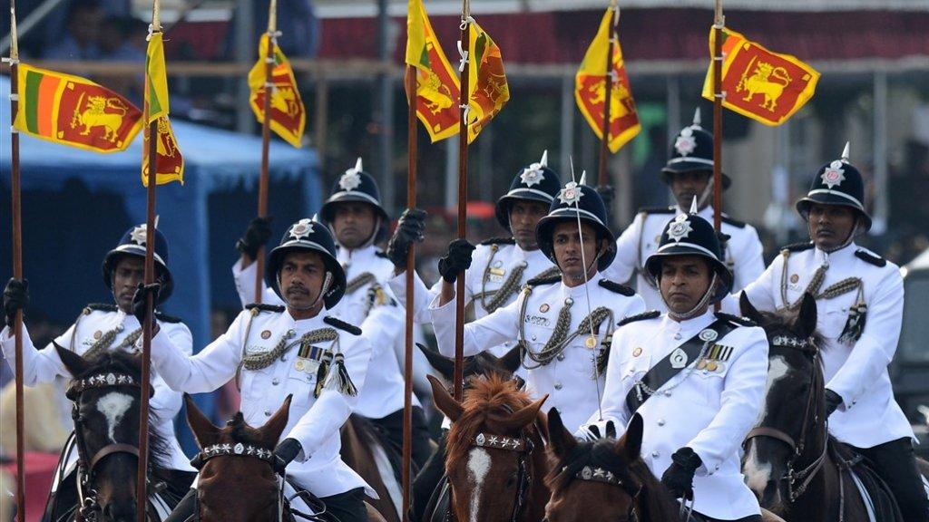 Sri Lankese militairen tijdens de parade op onafhankelijkheidsdag
