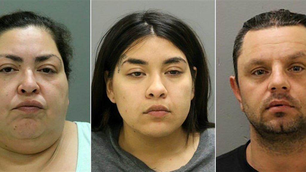 De drie verdachten, Clarisa (links), haar dochter Desiree en haar vriend.