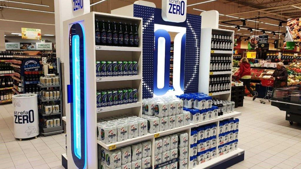 De Zero Zone van Heineken in Polen: met verschillende soorten alcoholvrij bier van Heineken.