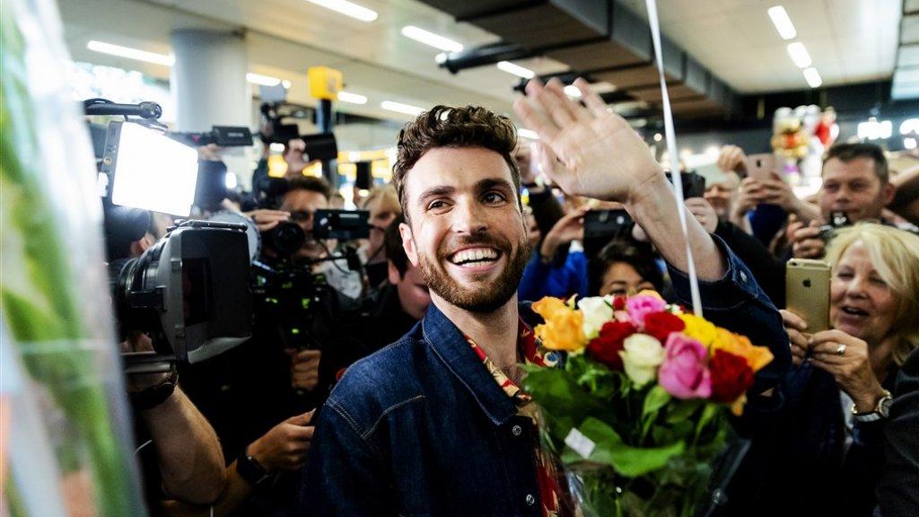 Duncan bij aankomst op Schiphol.