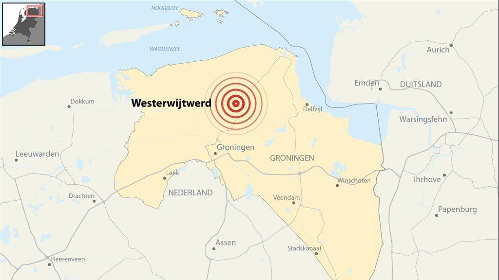 Het gebied waar de aardbeving bij Westerwijtwerd gevoeld werd.