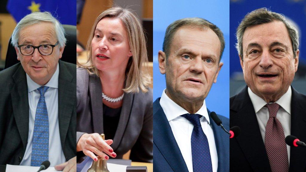 Jean-Claude Juncker, Federica Mogherini, Donald Tusk en Mario Draghi.