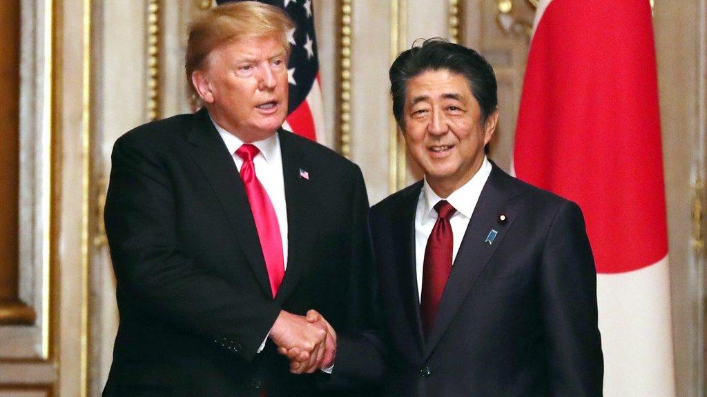 Trump en de Japanse president Abe.