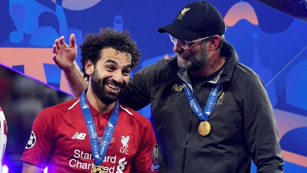 Jürgen Klopp met Mohamed Salah