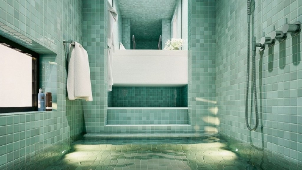 De badkamer.