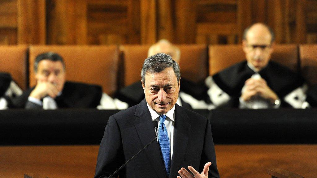 President Mario Draghi van de ECB ziet niets in de mini-obligaties.