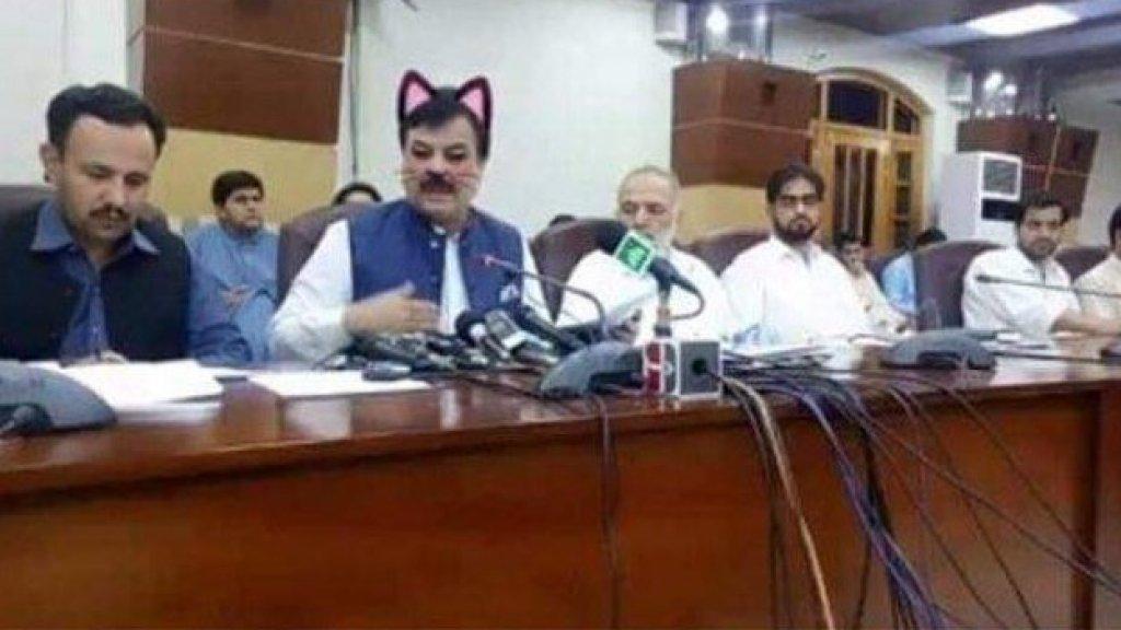 Kattenfilter geactiveerd tijdens livestream van politieke bijeenkomst Pakistan