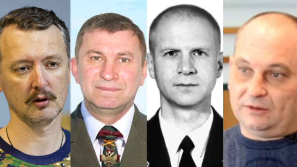 Igor Girkin, Sergei Doebinski, Oleg Poelatov en Leonid Ghartsjenko (vlnr)